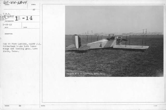 Airplanes - Accidents - Due to poor landing, Cadet J.L. Sutherland broke both lower wings and landing gear. Love Field, Texas. D.M.A