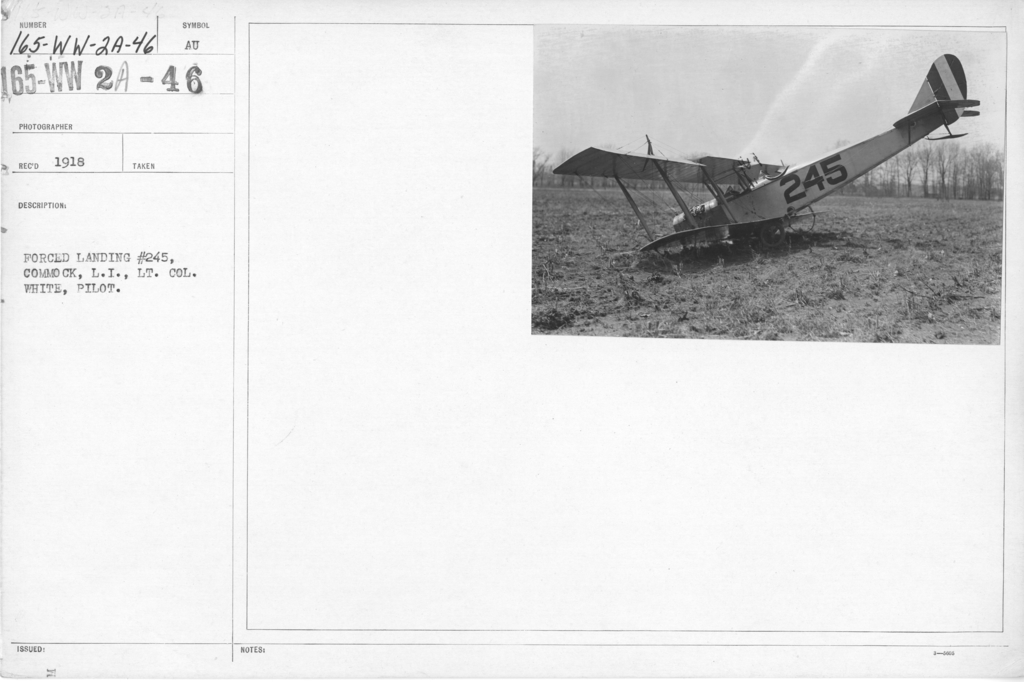 Airplanes - Accidents - Forced landing #245, Commock, L.I., Lt. Col. White, Pilot