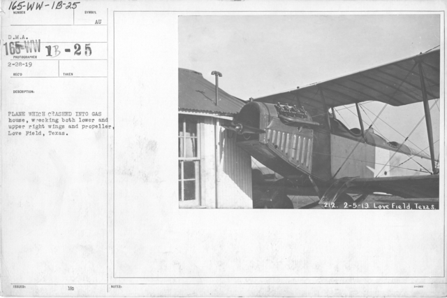 Airplanes - Accidents - Plane which crashed into gas house, wrecking both lower and upper right wings and propeller, Love Field, Texas. D.M.A