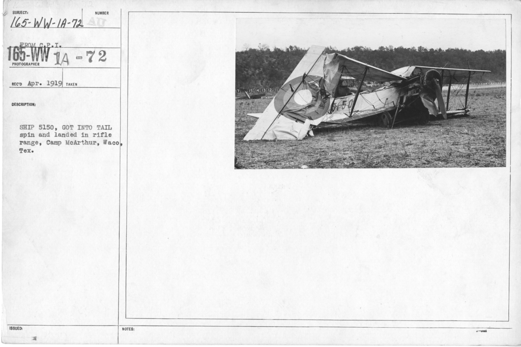 Airplanes - Accidents - Ship 5150, got into tail spin and landed in rifle range, Camp McArthur, Waco, Texas. From C.P.I