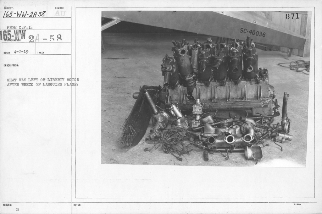 Airplanes - Accidents - What was left of Liberty Motor after wreck of Languies plane. From C.P.I