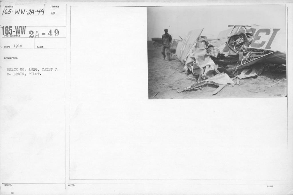 Airplanes - Accidents - Wreck no. 1329, Cadet J. B. Erwin, Pilot