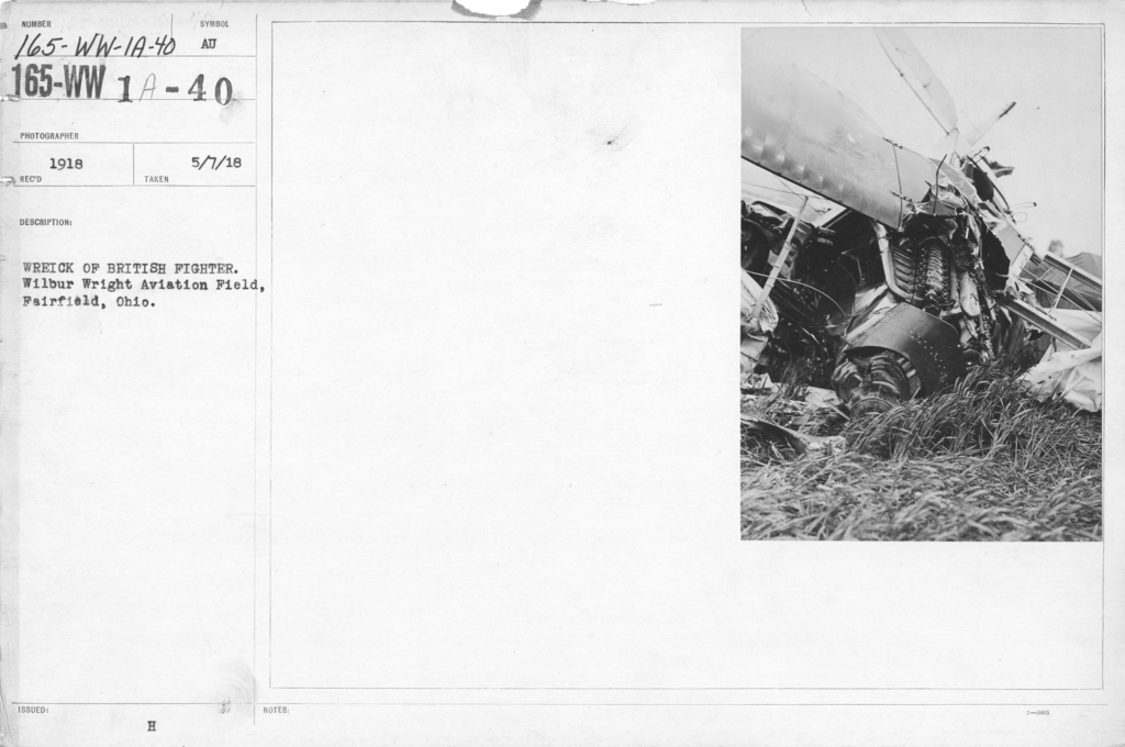 Airplanes - Accidents - Wreck of British Fighter. Wilbur Wright Aviation Field, Fairfield, Ohio