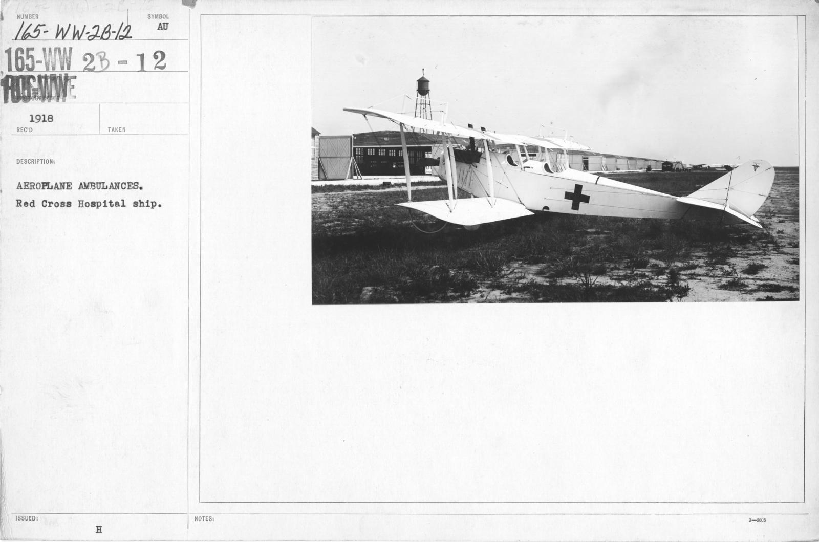 Airplanes - Ambulance - Aeroplane Ambulances. Red Cross Hospital ship
