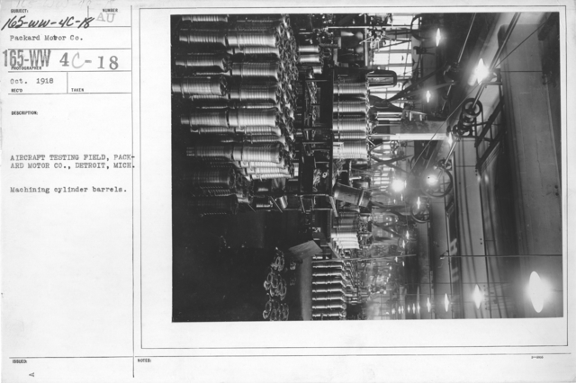Airplanes - Engines - Aircraft Testing Field, Packard Motor Co., Detroit, Michigan. Machining cylinder barrels