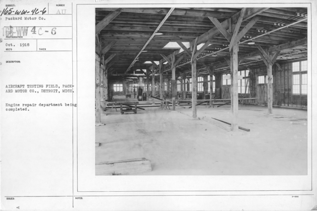 Airplanes - Engines - Aircraft testing field, Packard Motor Co., Detroit, Michigan. Engine repair department being completed