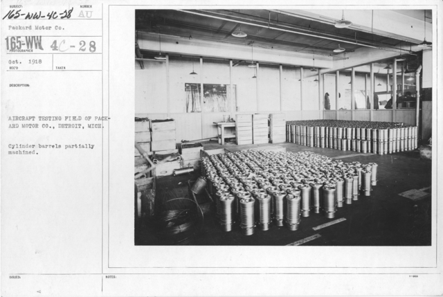 Airplanes - Engines - Aircraft Testing Field, Packard Motor Co., Detroit, Michigan. Cylinder barrels partially machined
