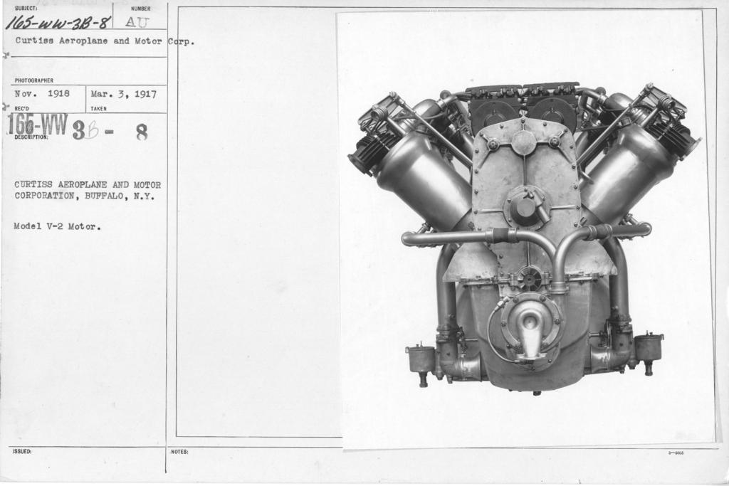 Airplanes - Engines - Curtiss Aeroplane and Motor Corporation, Buffalo, N.Y. Model V-2 Motor