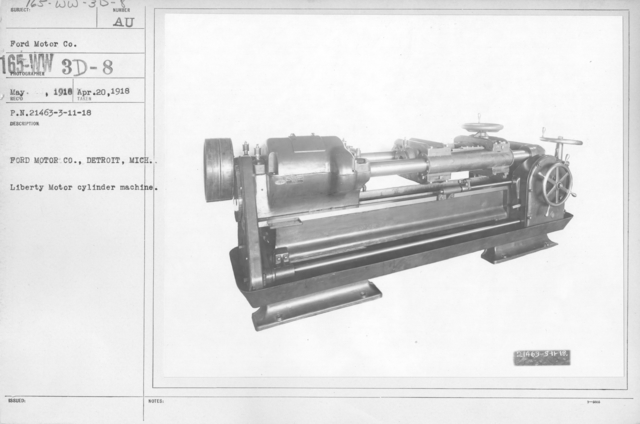 Airplanes - Engines - Ford Motor Co., Detroit, Michigan. Liberty Motor cylinder machine