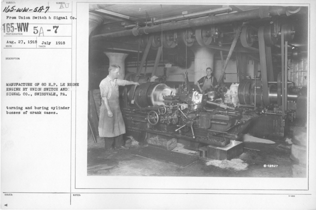 Airplanes - Engines - Manufacture of 80 H. P. LE Rhone engine by Union Switch and Signal Co., Swissvale, PA. Turning and boring cylinder bosses of crank cases