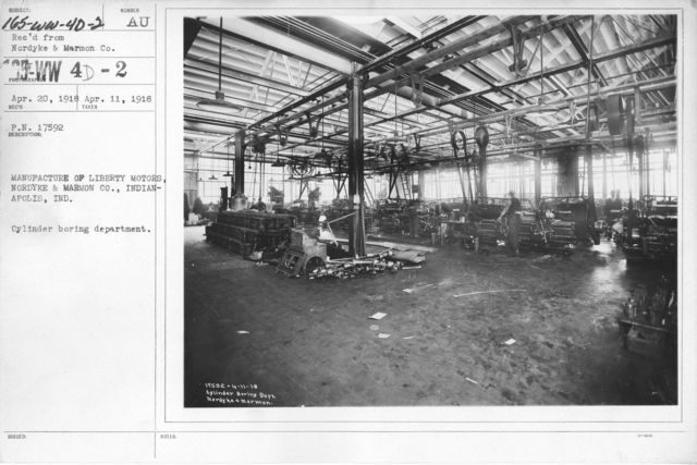 Airplanes - Engines - Manufacture of Liberty Motors, Nordyke and Marmon Co., Indianapolis, IND. Ingersoll milling machines