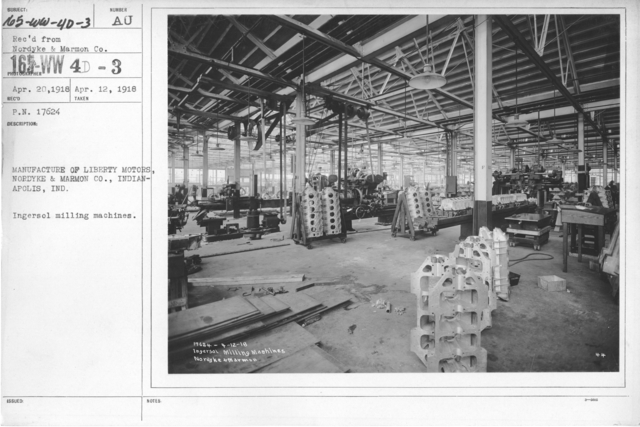 Airplanes - Engines - Manufacture of Liberty Motors, Nordyke and Marmon Co., Indianapolis, IND. Cylinder boring department