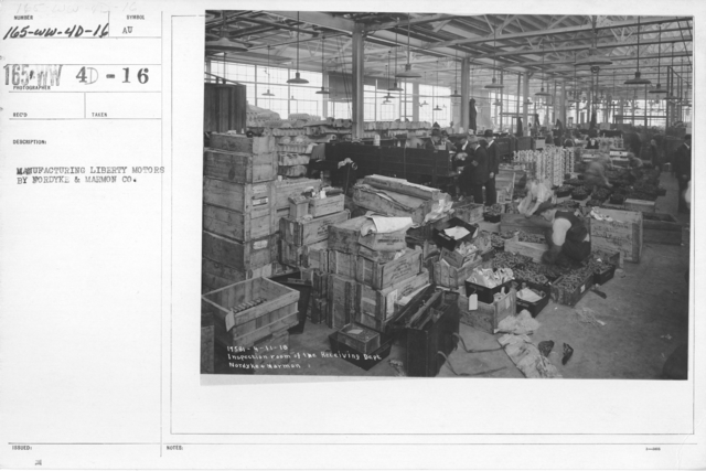Airplanes - Engines - Manufacture of Liberty Motors, Nordyke and Marmon Co. Inspection room of the receiving department