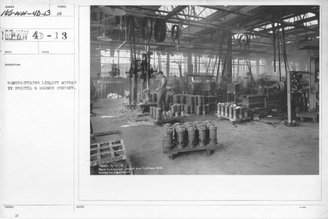 Airplanes - Engines - Manufacture of Liberty Motors, Nordyke and Marmon Co. Main entrance upper end cylinder department