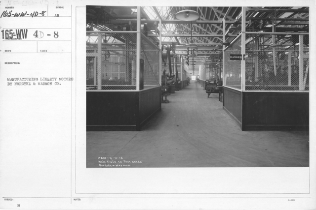 Airplanes - Engines - Manufacture of Liberty Motors, Nordyke and Marmon Co. Main aisle to test sheds