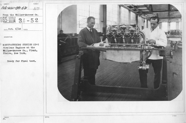 Airplanes - Engines - Manufacturing Curtiss Ox-5 airplane engines at the Willy-s Morrow Plant, Elmira, New York. Ready for final test