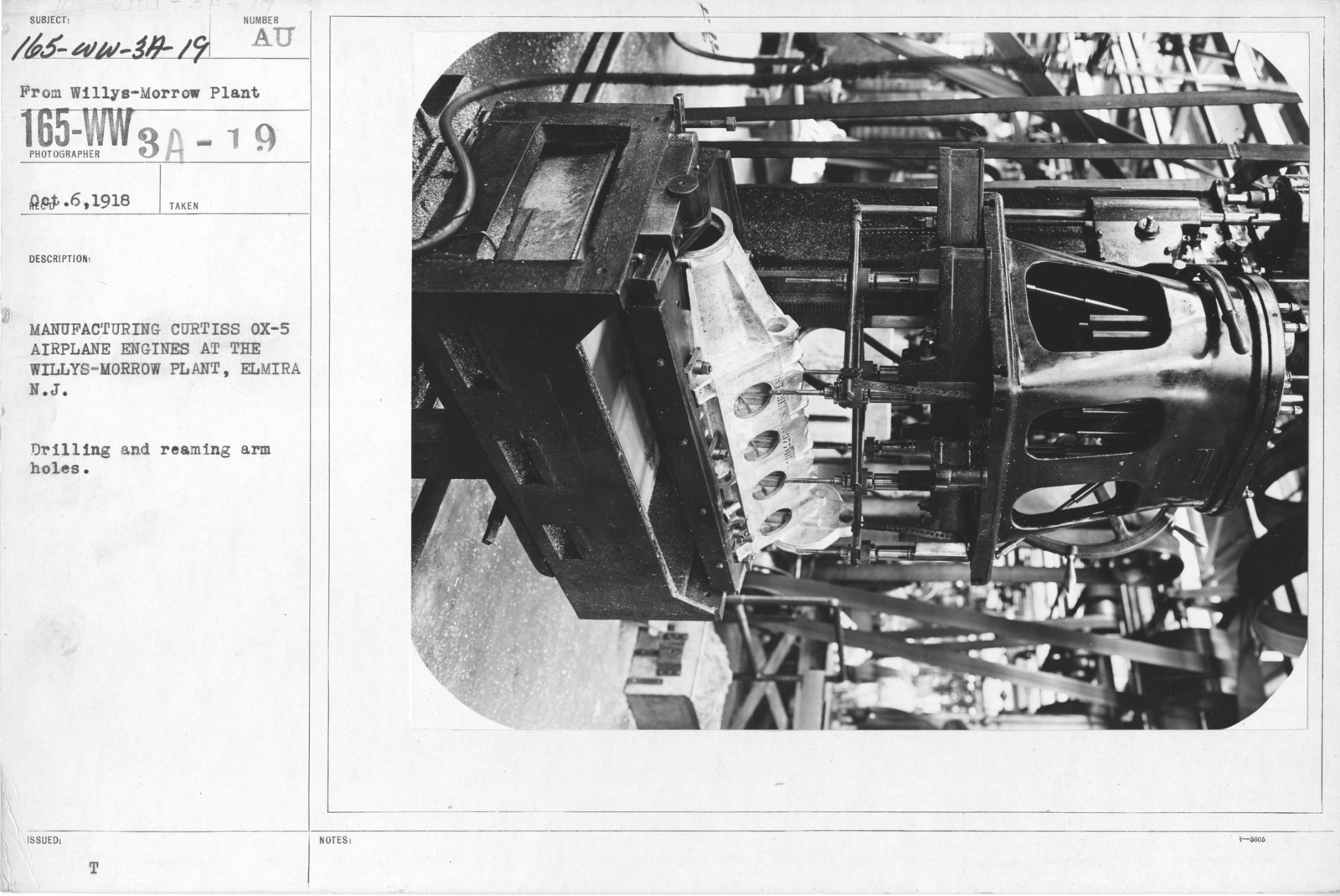 Airplanes - Engines - Manufacturing Curtiss Ox-5 airplane engines at the Willy-s Morrow Plant, Elmira, New York. Drilling and reaming arm holes