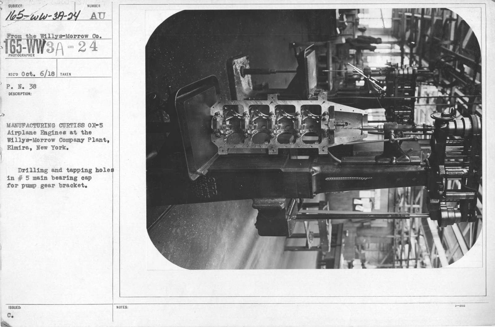 Airplanes - Engines - Manufacturing Curtiss Ox-5 airplane engines at the Willy-s Morrow Plant, Elmira, New York. Drilling and tapping holes in # 5 main bearing cap for pump gear bracket