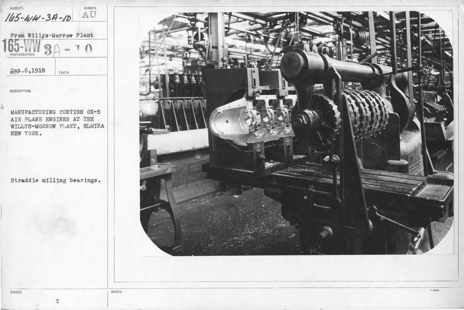 Airplanes - Engines - Manufacturing Curtiss Ox-5 airplane engines at the Willys-Morrow Plant, Elmira,  New York. Straddle milling bearings