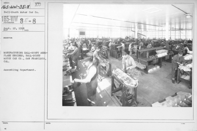 Airplanes - Engines - Manufacturing Hall-Scott Aeroplane engines; Hall-Scott Motor Car Co., San Francisco, CAL. Assembling department