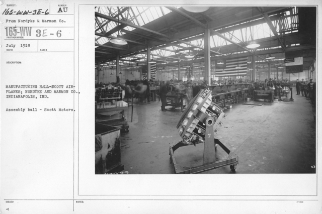 Airplanes - Engines - Manufacturing Hall-Scott Aeroplanes; Nordyke and Marmon Co., Indianapolis, IND. Assembly hall - Scott Motors