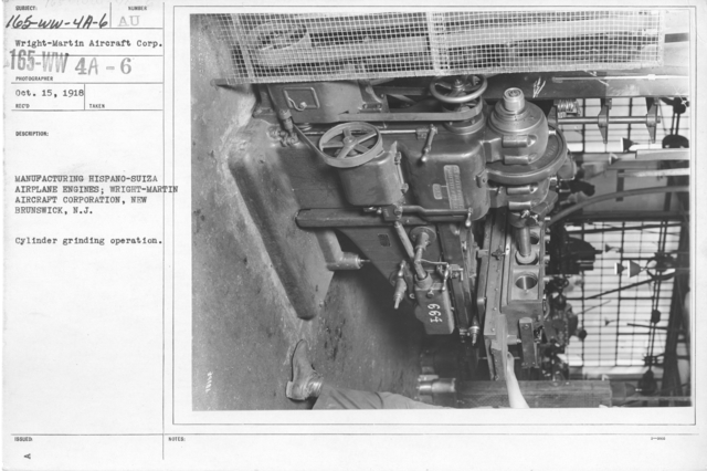 Airplanes - Engines - Manufacturing Hispano-Suiza Airplane Engines; Wright-Martin Aircraft Corp., New Brunswick, N.J. Cylinder grinding operation