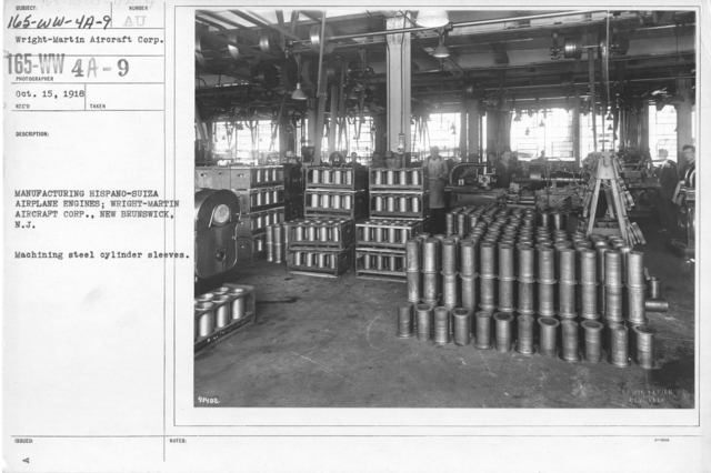 Airplanes - Engines - Manufacturing Hispano-Suiza Airplane Engines; Wright-Martin Aircraft Corp., New Brunswick, N.J. Machining steel cylinder sleeves