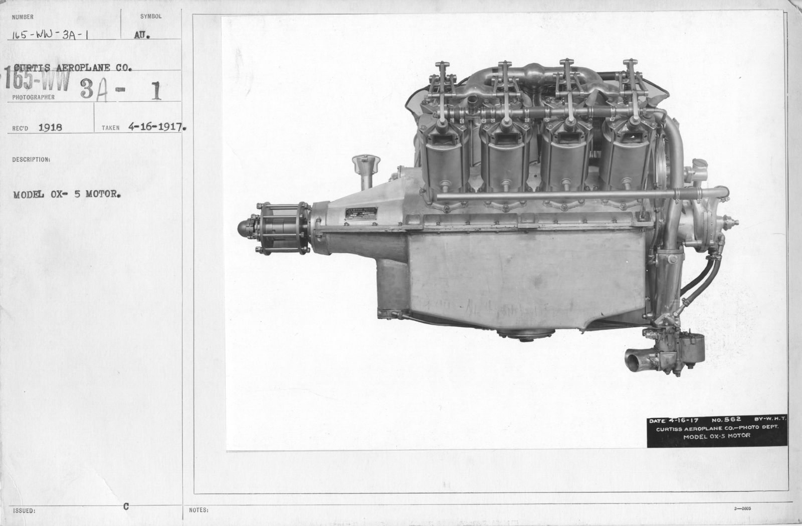 Airplanes - Engines - Model OX-5 Motor. Curtiss Aeroplane Co