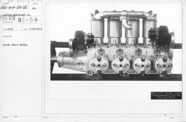 Airplanes - Engines - Model OXX-3 Motor. Curtiss Aeroplane Co