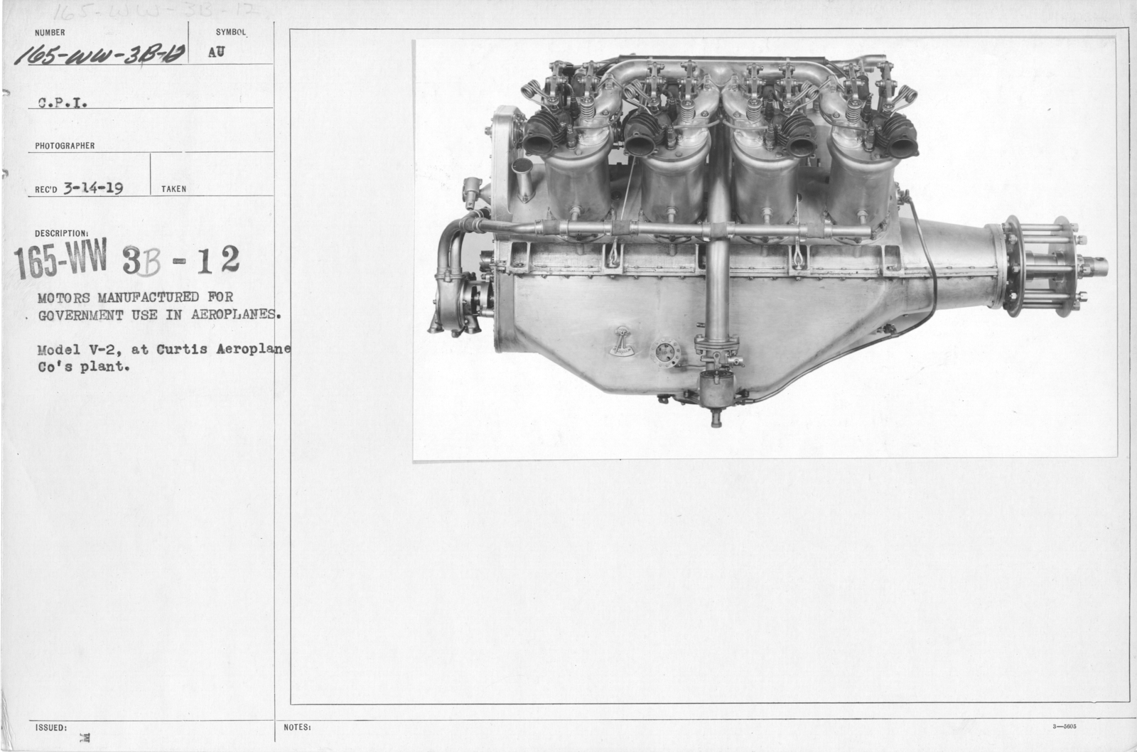 Airplanes - Engines - Motors manufactured for government use in aeroplanes. Model V-2 motor, at Curtiss Aeroplane Co's plant. C.P.I