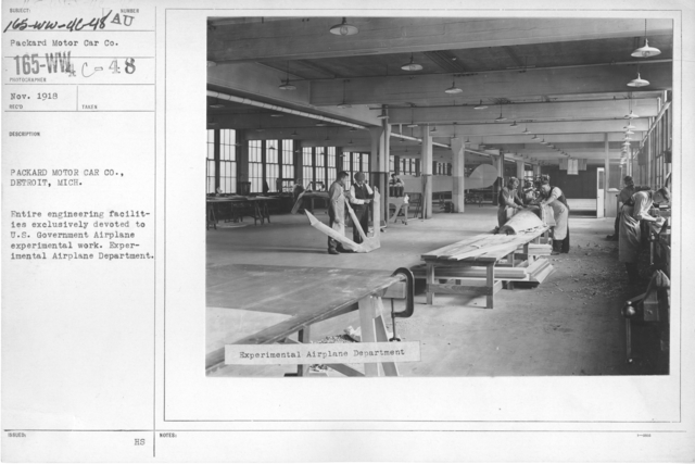 Airplanes - Engines - Packard Motor Car Co., Detroit, Michigan. Entire engineering facilities exclusively devoted to U.S. Government Airplane experimental work. Experimental Airplane Department