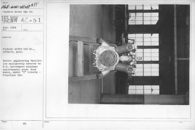 """Airplanes - Engines - Packard Motor Car Co., Detroit, Michigan. Entire engineering facilities exclusively devoted to U.S. Government Airplane experimental work. Wood Model, Model """"E"""" Liberty -Propeller End"""