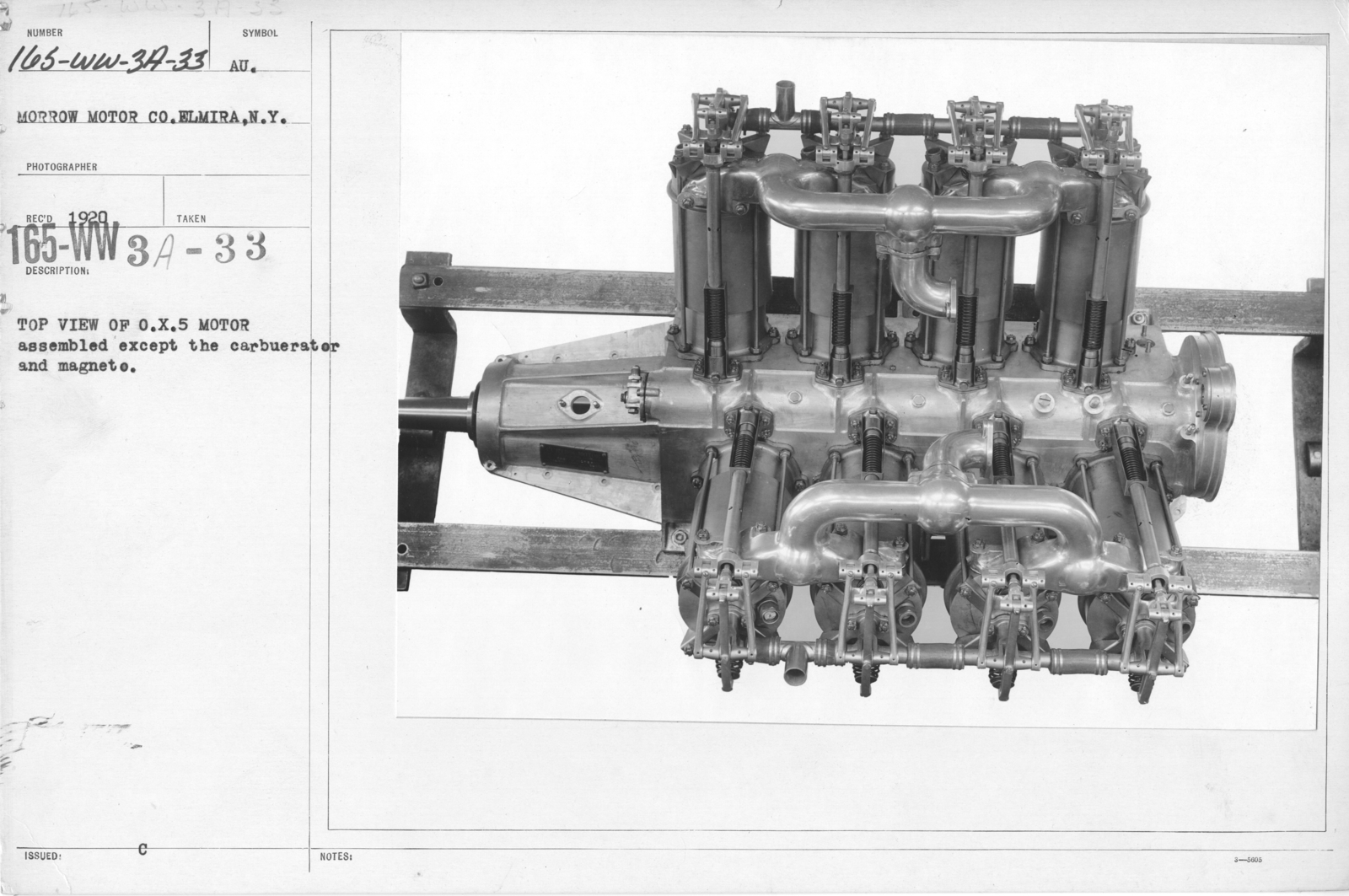 Airplanes - Engines - Top view of O X 5 Motor assembled