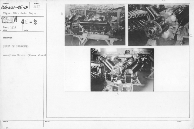 Airplanes - Engines - Types of ordnance. Aeroplane motor (three views). Engine. Div. Ordn. Dept