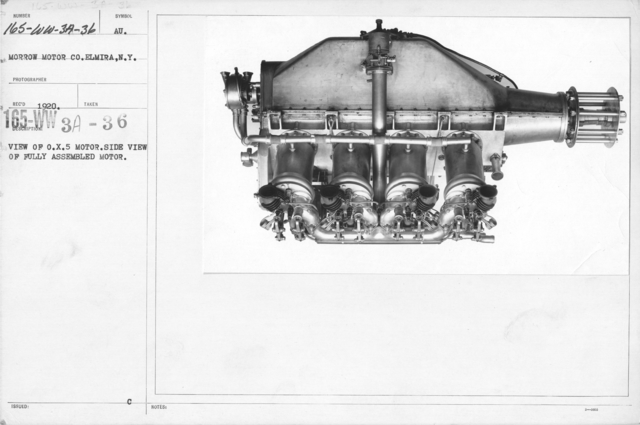 Airplanes - Engines - View of O.X.5 Motor. Side view of fully assembled motor. Morrow Motor Co., Elmira, N.Y