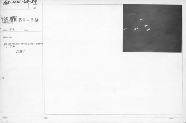 Airplanes - Flight - Close up of De Haviland in flight, March 1, 1919