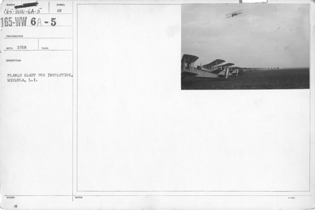 Airplanes - Flight - Planes ready for inspection, Mineola, L.I