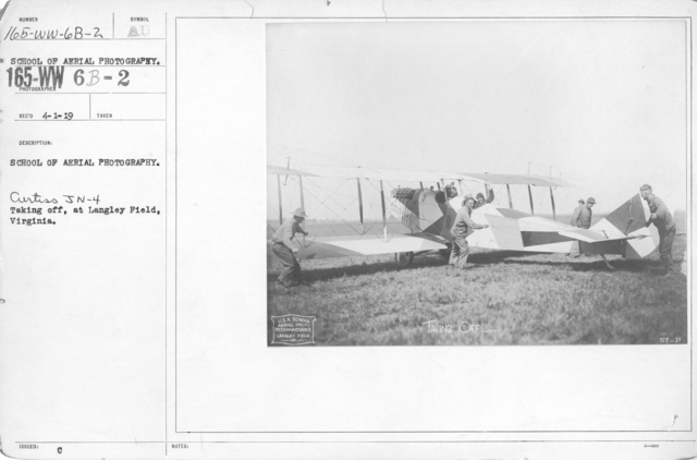Airplanes - Flight - School of Aerial Photography. Curtiss JN-4 taking off, at Langley Field, Virginia