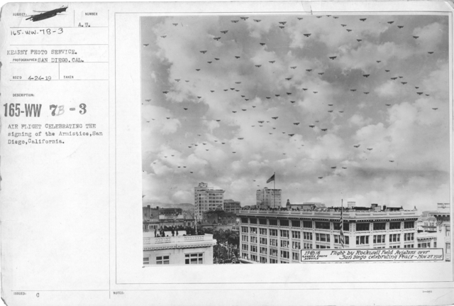 Airplanes - Historical - Air flight celebrating the signing of the Armistice, San Diego, California. Kearney Photo Service