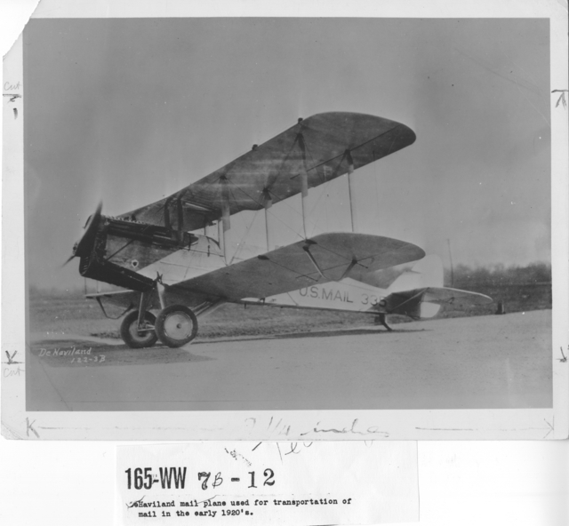 Airplanes - Historical - De Haviland mail plane used for transportation of mail in the early 1920's