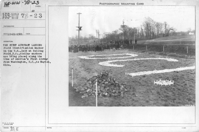 Airplanes - Historical - The first Aircraft Landing Field Identification Marker in the U.S., laid at Boiling Field D.C., similar markers are being placed along the line of America's First Airway from Washington, D.C., to Dayton, Ohio