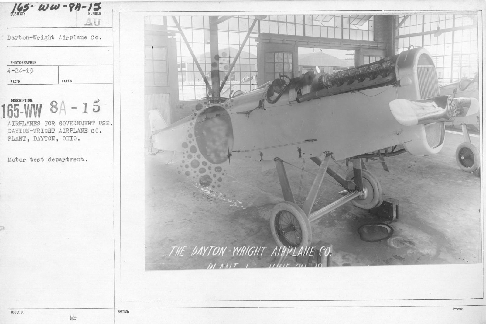 Airplanes - Inspection - Airplanes for government use. Dayton-Wright Airplane Co. Plant, Dayton, Ohio. Motor test department