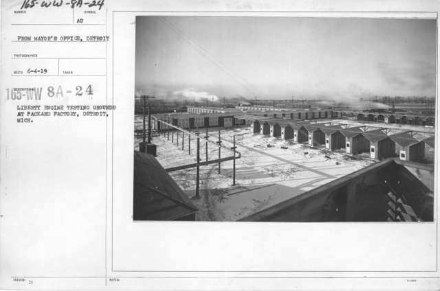 Airplanes - Inspection - Liberty Engine testing grounds at Packard Factory, Detroit, Mich. From Mayor's Office, Detroit