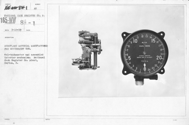 Airplanes - Instruments - Aeroplane material manufactured for government use. Tel-tachometer and assembled interior mechanism. National Cash Register Co. plant, Dayton, O