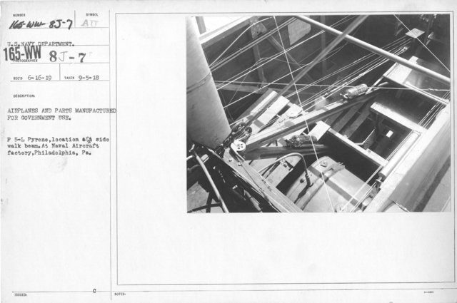 Airplanes - Instruments - Airplanes and parts manufactured for government use. F 5-L Pyrene, location aft side walk beam. At Naval Aircraft factory, Philadelphia, PA