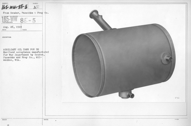Airplanes - Instruments - Auxiliary oil tank for De Haviland aeroplanes manufactured for War Department by Geuder, Paeschke and Frey Co., Milwaukee, Wis