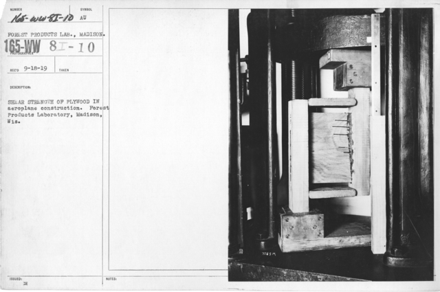 Airplanes - Instruments - Shear strength of plywood in aeroplane construction. Forest Products Laboratory, Madison, Wis