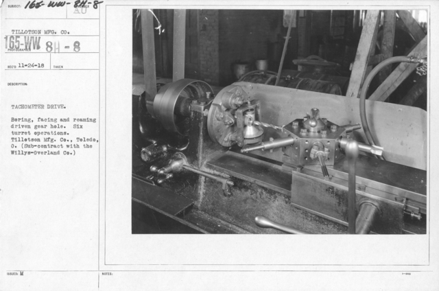 Airplanes - Instruments - Tachometer Drive. Boring, facing and reaming driven gear hole. Six turret operations. Tillotson Mfg. Co., Toledo, O. (Sub-contract with the Willys-Overland Co.)