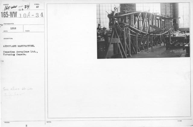 Airplanes - Manufacturing Plants - Aeroplane manufacture. Canadian Aeroplane Ltd., Toronto, Canada