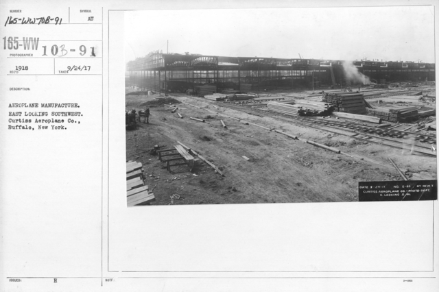 Airplanes - Manufacturing Plants - Aeroplane manufacture. East looking southwest. Curtiss Aeroplane Co., Buffalo, New York